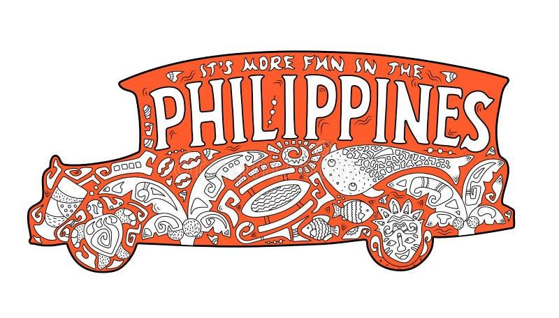 Orange jeepney med den filippinska prydnaden Palmträd valhaj, maskering, sköldpadda, gloria-gloria Vektorfärgläggningsida royaltyfri illustrationer