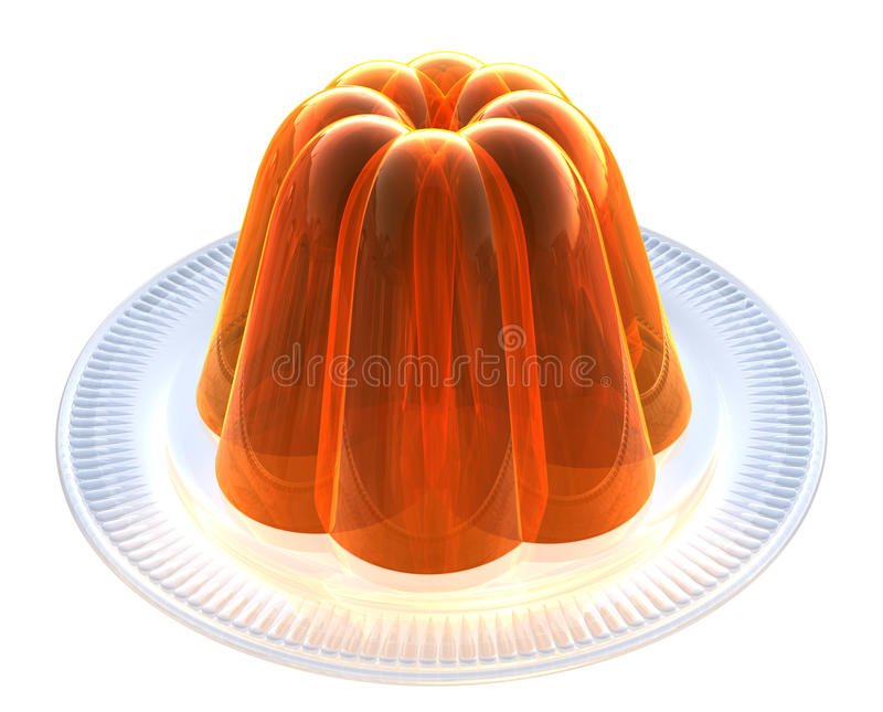 Orange Jelly on Dessert Plate