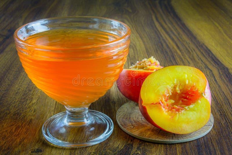 Orange jelly with fruit. stock photos