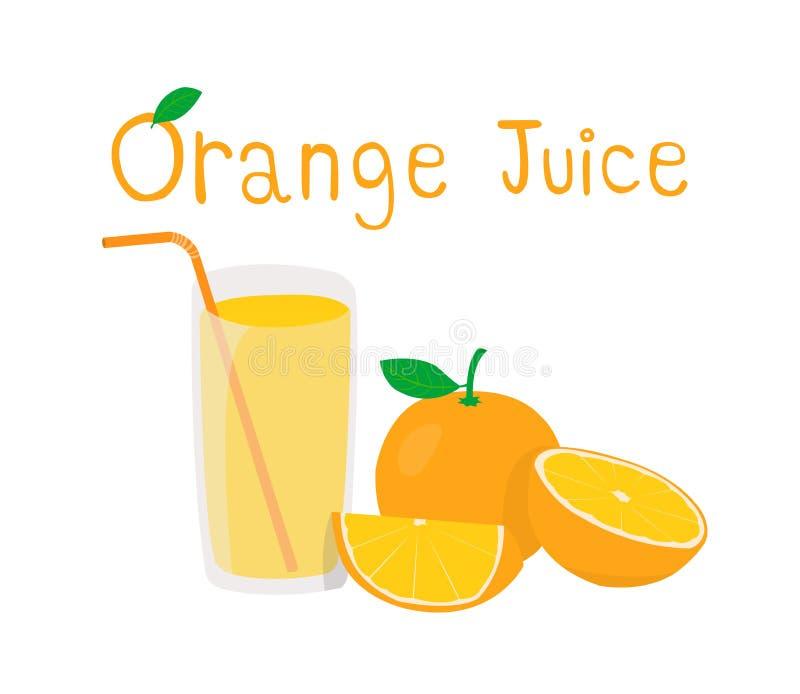 Orange and orange cut in half isolated on white background. Orange and orange juice on white background. royalty free illustration
