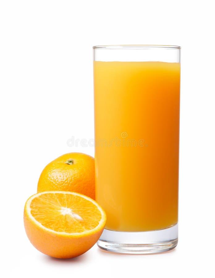 Orange juice. With oranges isolated on white royalty free stock image