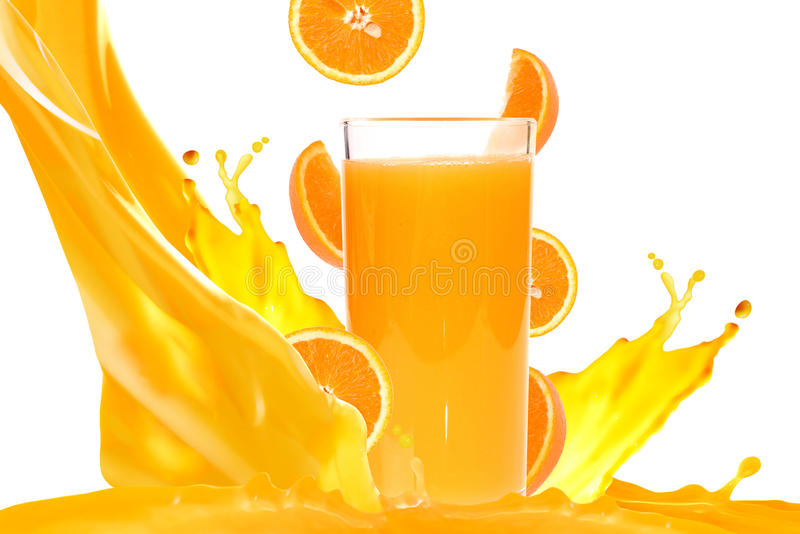 Orange juice. Isolated on white background stock photos