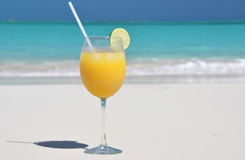 Orange juice on the beach. Exuma, Bahamas royalty free stock images