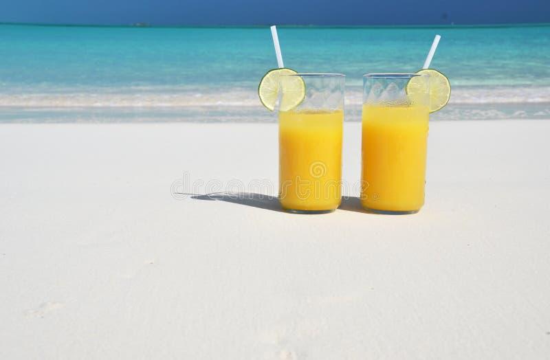 Orange juice on the beach. Great Exuma, Bahamas stock images