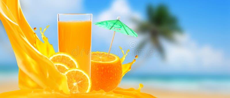 Orange juice on a beach. With palm background stock photos