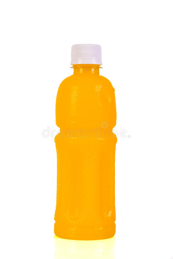 Orange juice bottle. Isolated on white background royalty free stock image