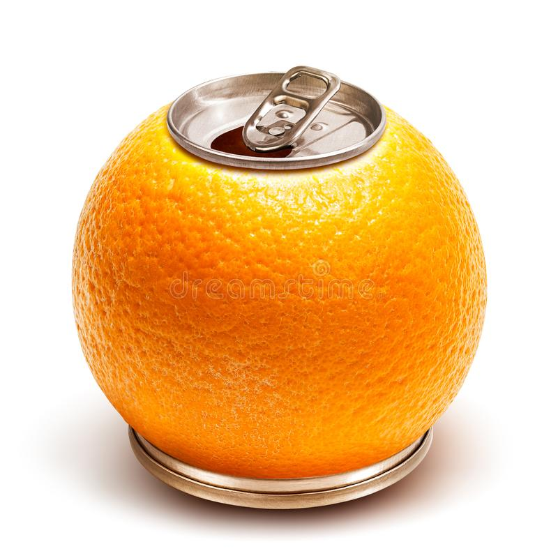Orange juice can. Creative orange juice ring pull can isolated on white background with clipping path stock photos