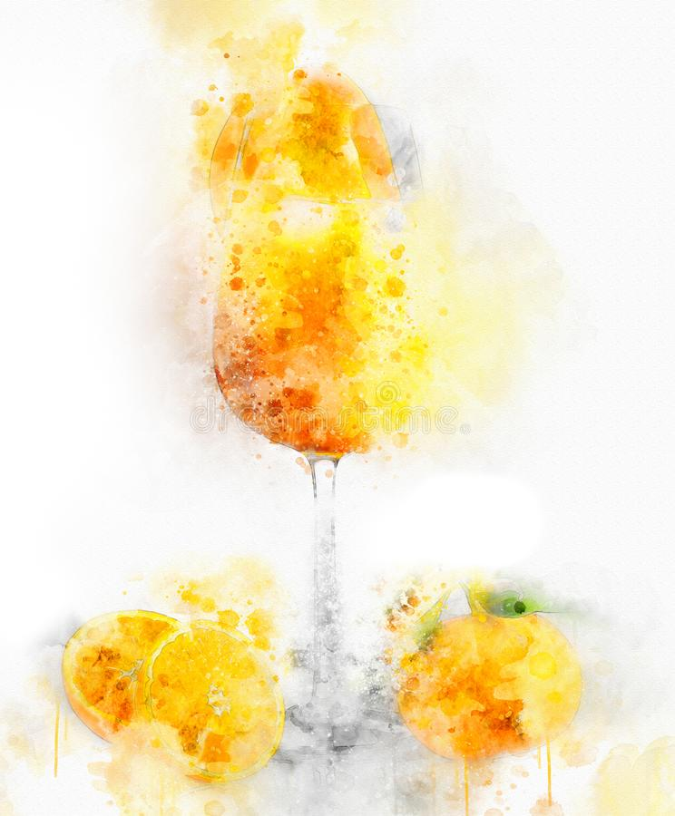 Orange Juice Cup d'illustration d'aquarelle image stock