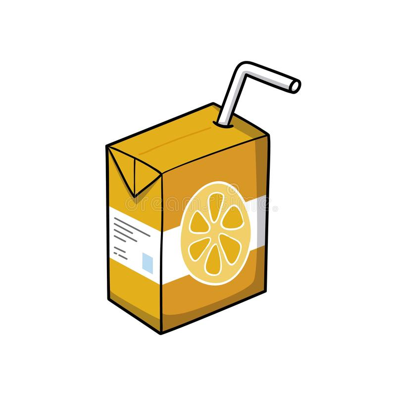 Orange juice. Drink icon. Doodle cartoon vector illustration. Vector drawing of Orange juice. Icon belonging to collection of icons related to drink. Doodle royalty free illustration