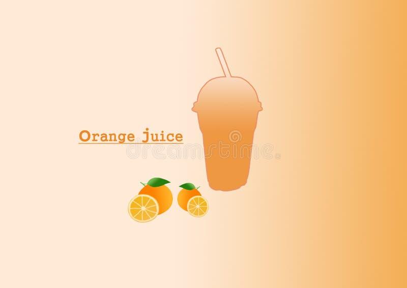 Orange juice drink. Plastic glass. Orange bubble tea or milkshake on Orange background. Can be used for Orange cards, party invitations or menu, sweet, fresh vector illustration