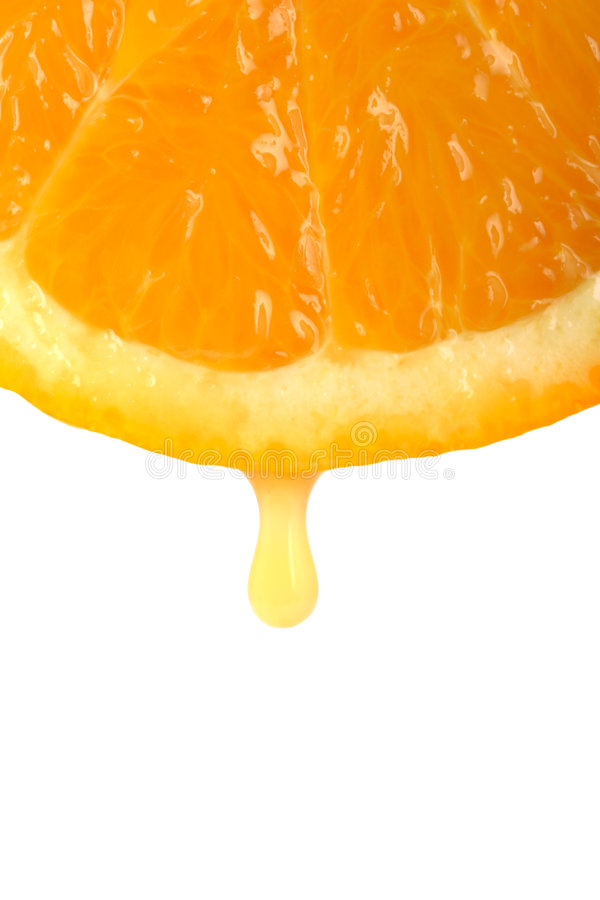 Orange juice drop royalty free stock photos