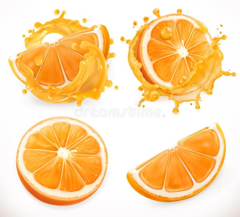 Orange juice. Fresh fruit and splashes. Vector icon set. Orange juice. Fresh fruit and splashes. 3d realism, vector icon set stock illustration