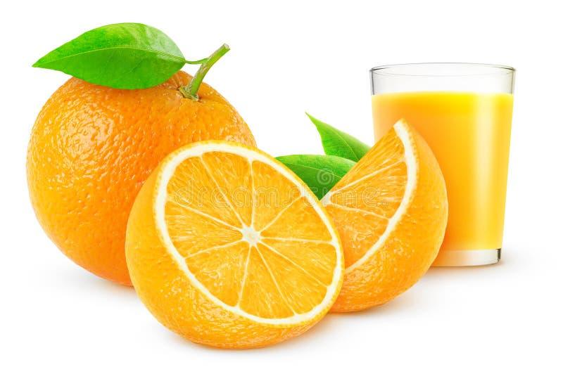 Orange juice. And fresh oranges over white background
