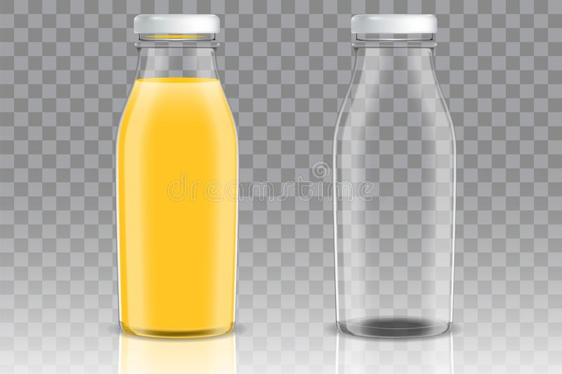 Orange juice glass bottle vector mockup set royalty free illustration