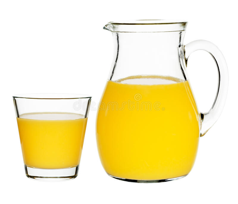 Orange juice in a glass and carafe. On a white background stock images