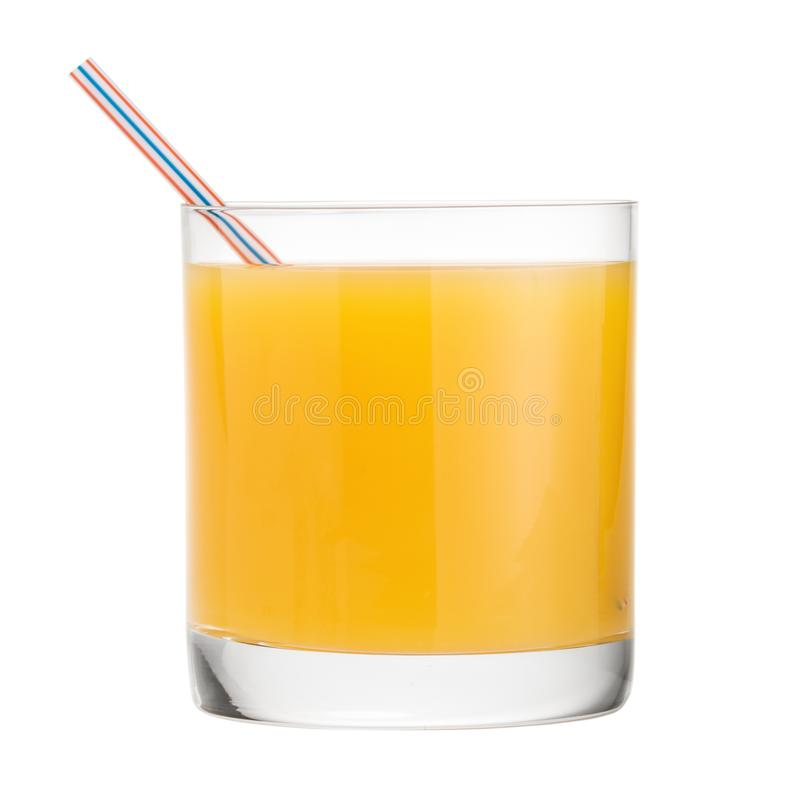 Orange juice glass, Citrus fruit drink white background clipping path royalty free stock photography