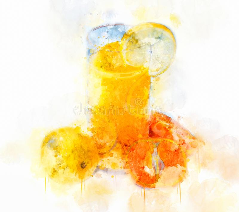Orange Juice Glass d'illustration d'aquarelle photo stock