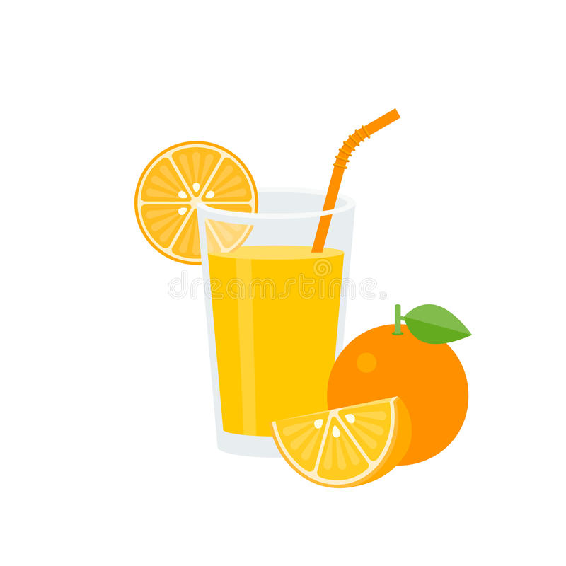 Orange juice in glass with green straw and ripe. Whole of orange, flat design vector vector illustration