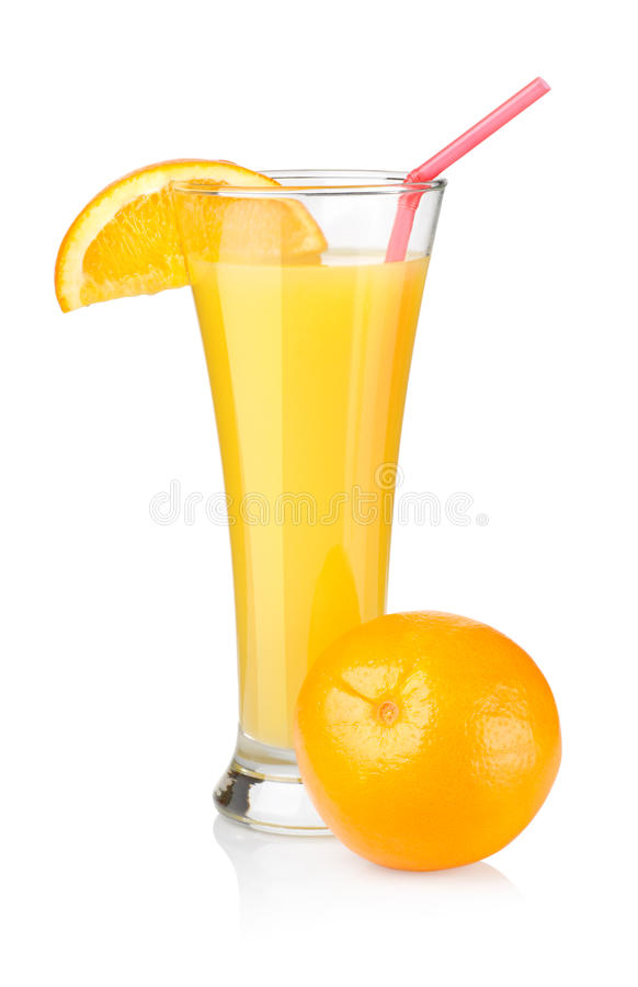 Orange juice in a glass isolated royalty free stock images