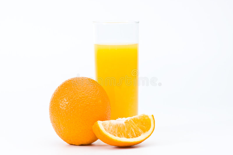 Orange with juice in the glass, isolated royalty free stock photo
