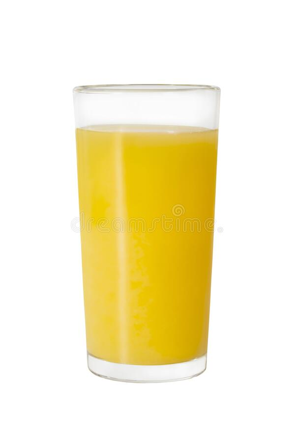 Orange juice glass, isolated on white background. Fruits and vegetables stock photography