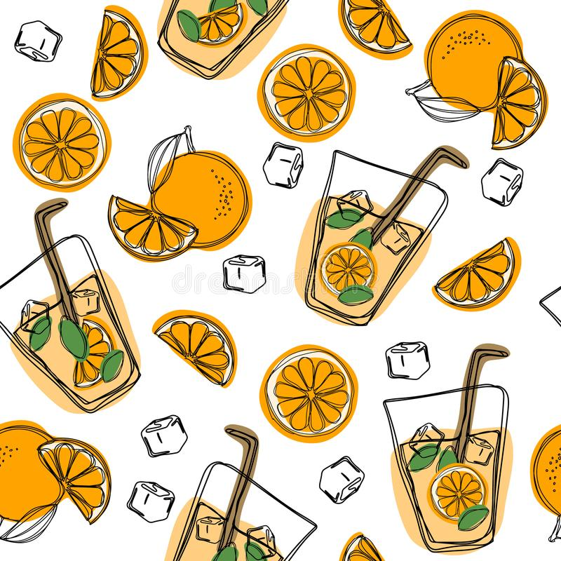 Orange juice in a glass. Seamless pattern with natural fresh. Orange slice, tube for drinking. Healthy organic food. Citrus fruit. Orange juice in a glass stock illustration