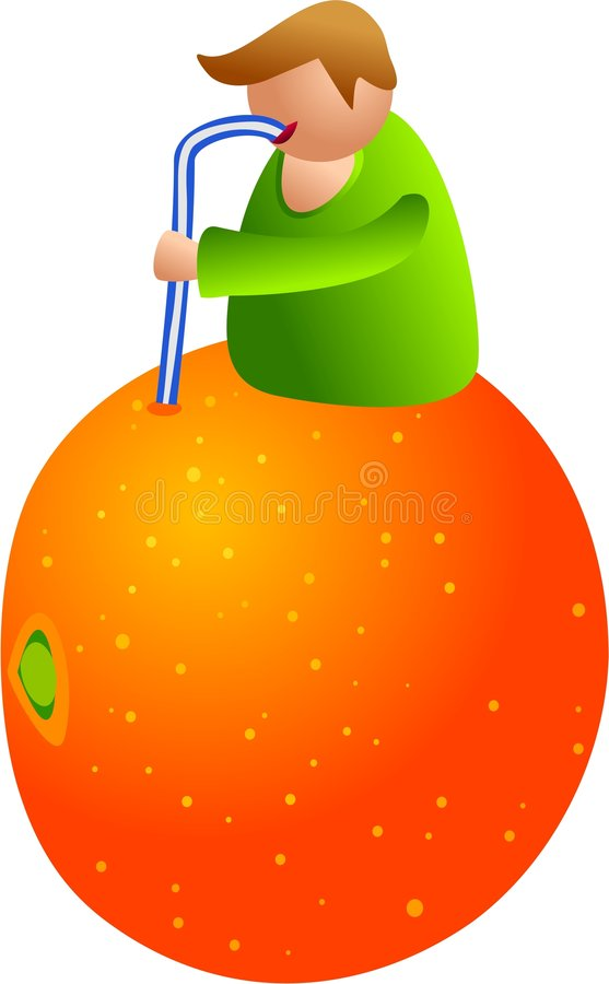 Orange juice man royalty free illustration