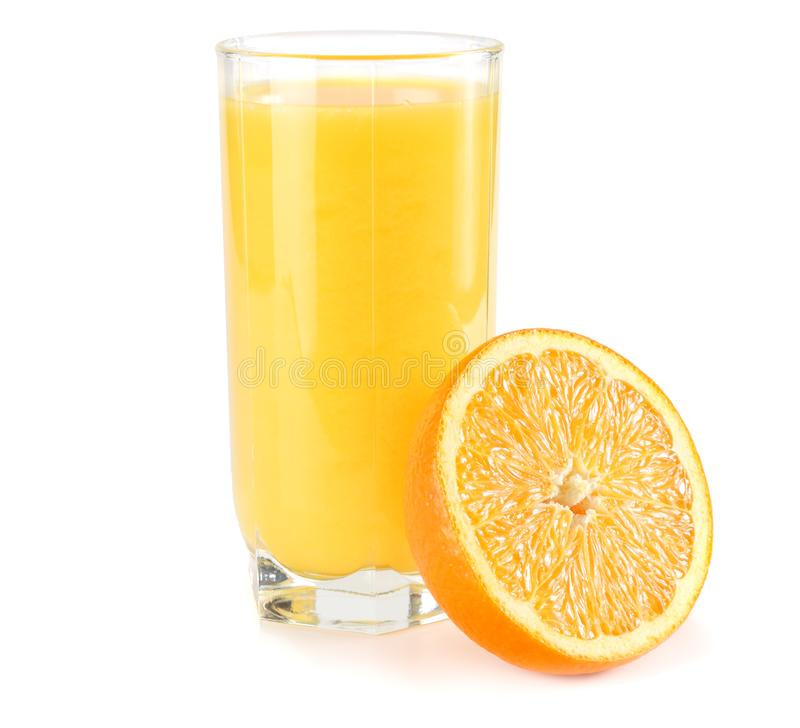 orange juice with orange slices and green leaf on white background. juice in glass royalty free stock photography