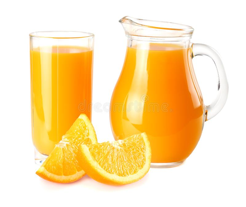 orange juice with orange on white background. juice in glass stock photography