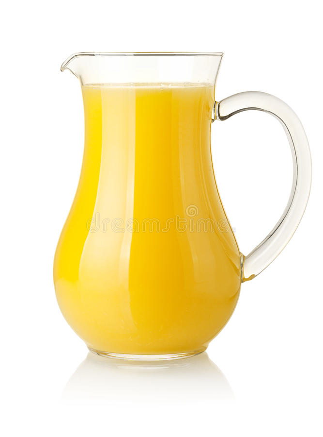 Orange juice in pitcher royalty free stock images