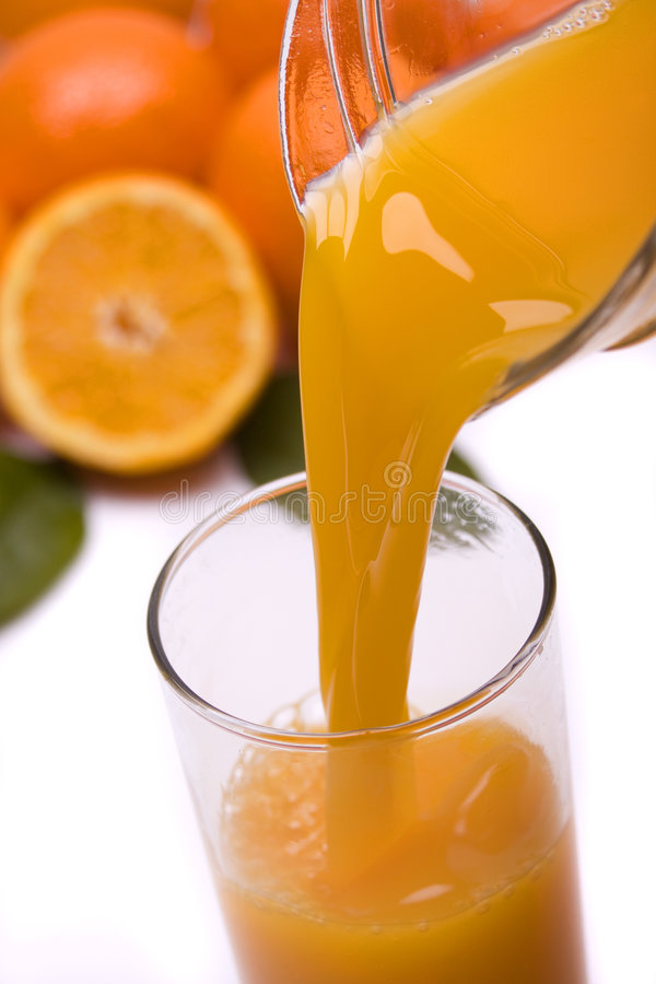Orange juice poured in a glass