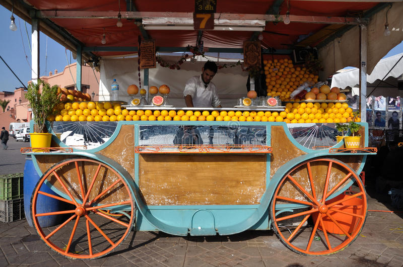 Orange juice seller in Marrakesh