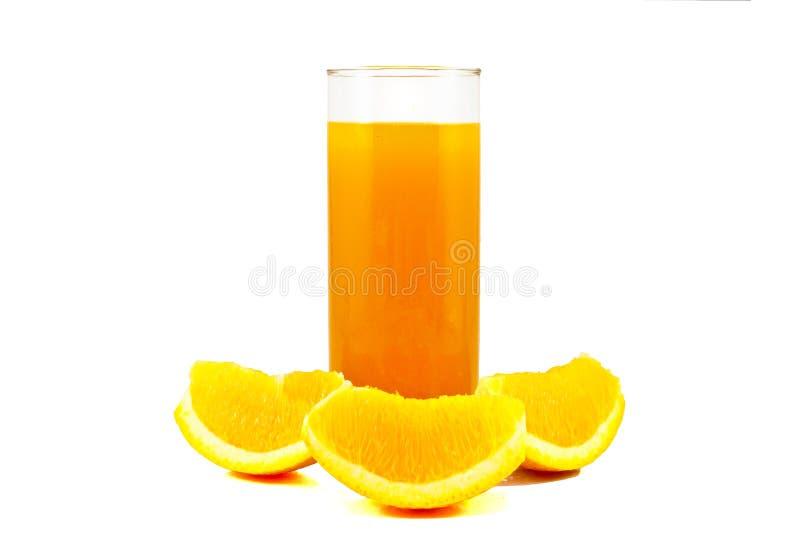 Orange juice. And slices of orange on white royalty free stock image