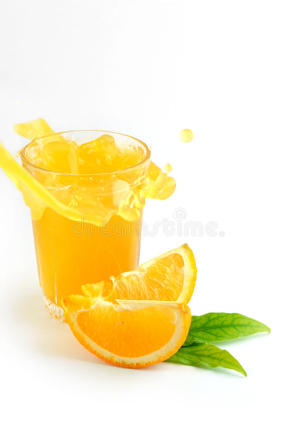 Orange juice splash royalty free stock image