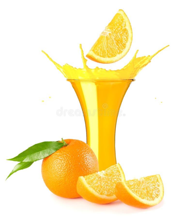 orange juice splash isolated on white background. orange juice in glass with orange slice stock photos