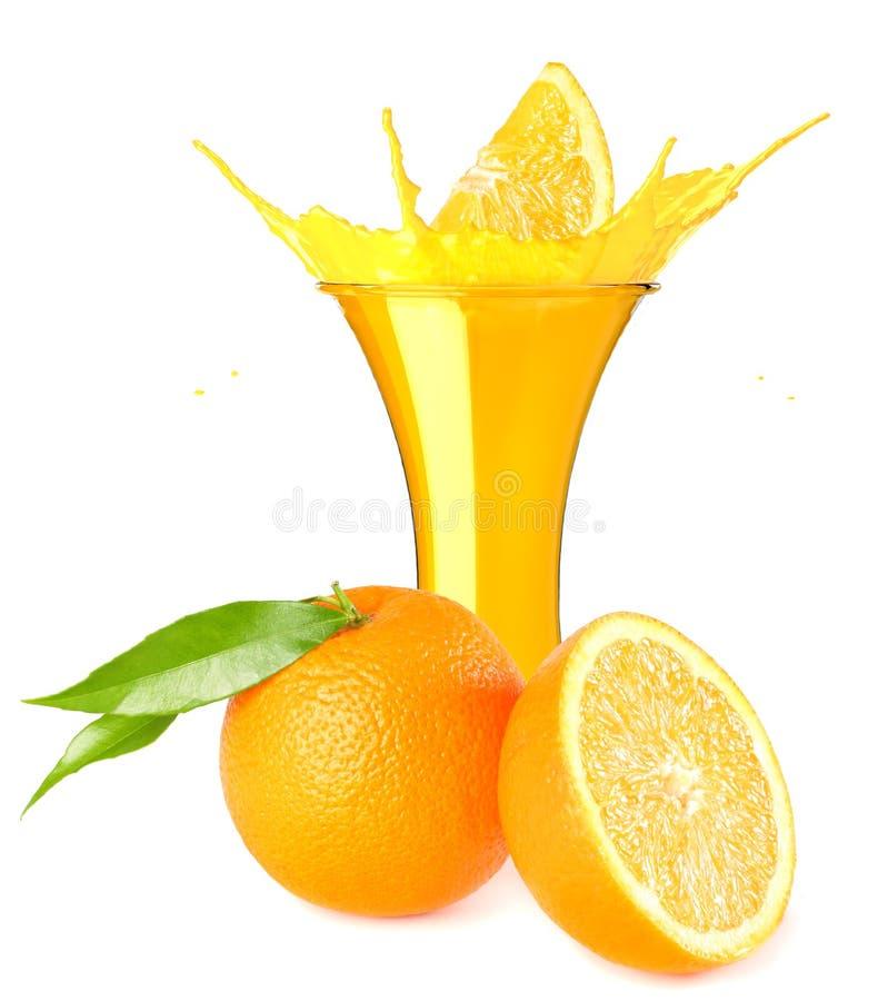 orange juice splash isolated on white background. orange juice in glass with orange slice stock photo