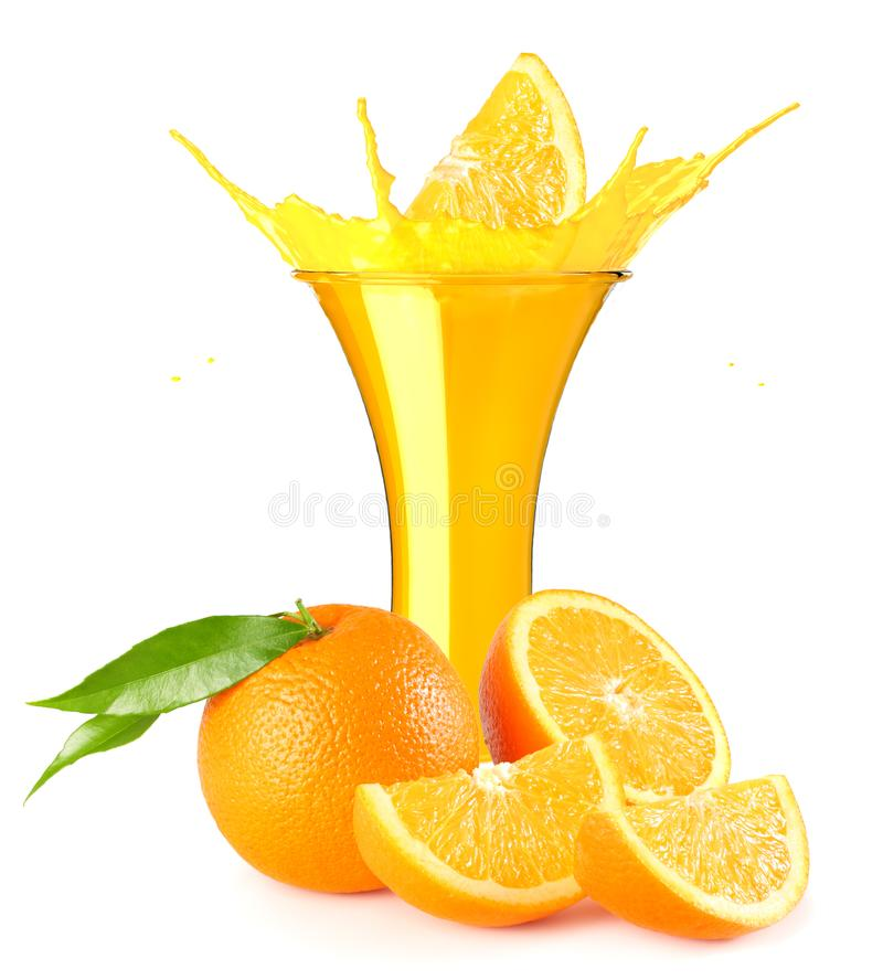 orange juice splash isolated on white background. orange juice in glass with orange slice stock images