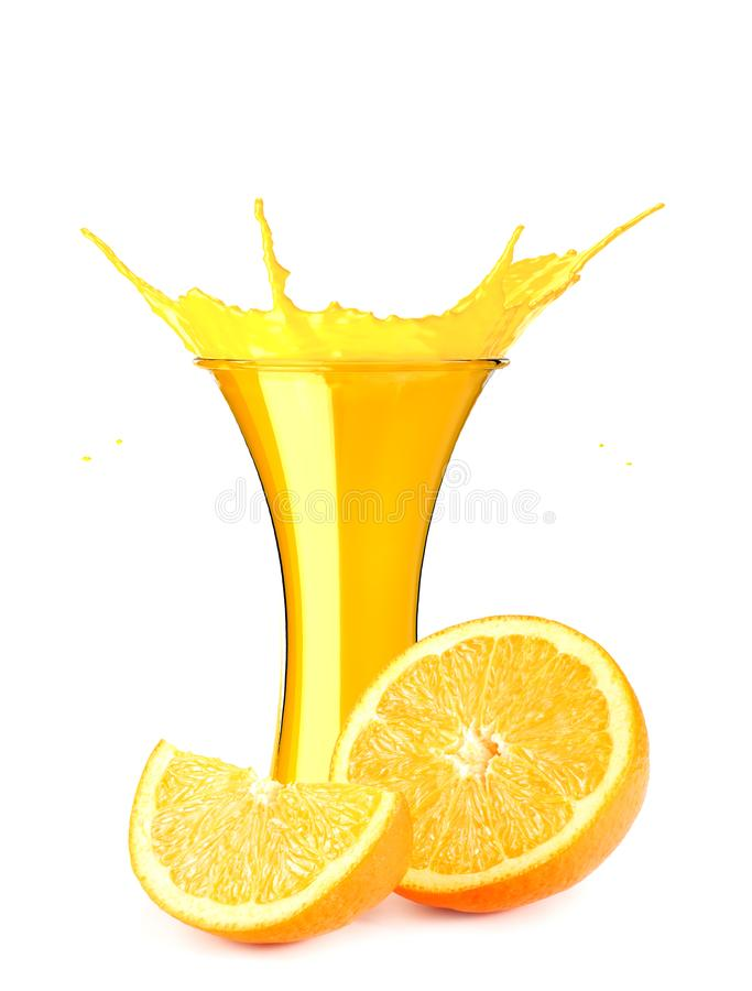 Orange juice splash isolated on white background. orange juice in glass with orange slice royalty free illustration