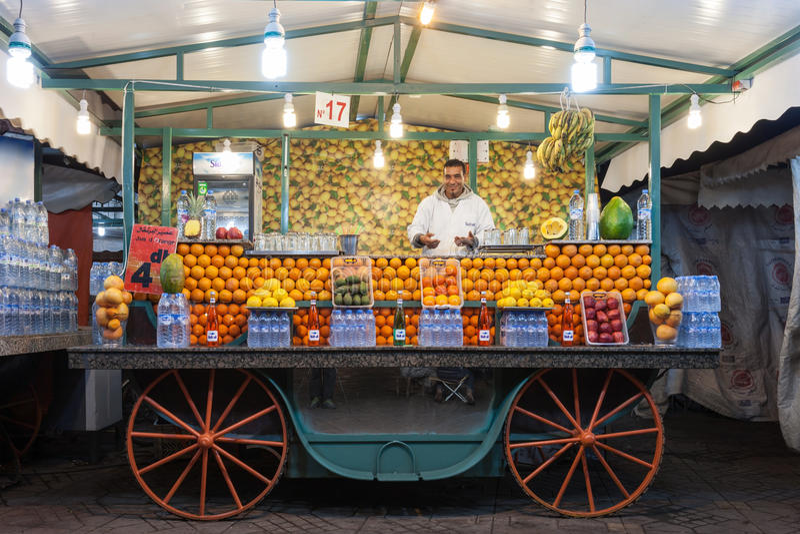 Orange juice stall royalty free stock image