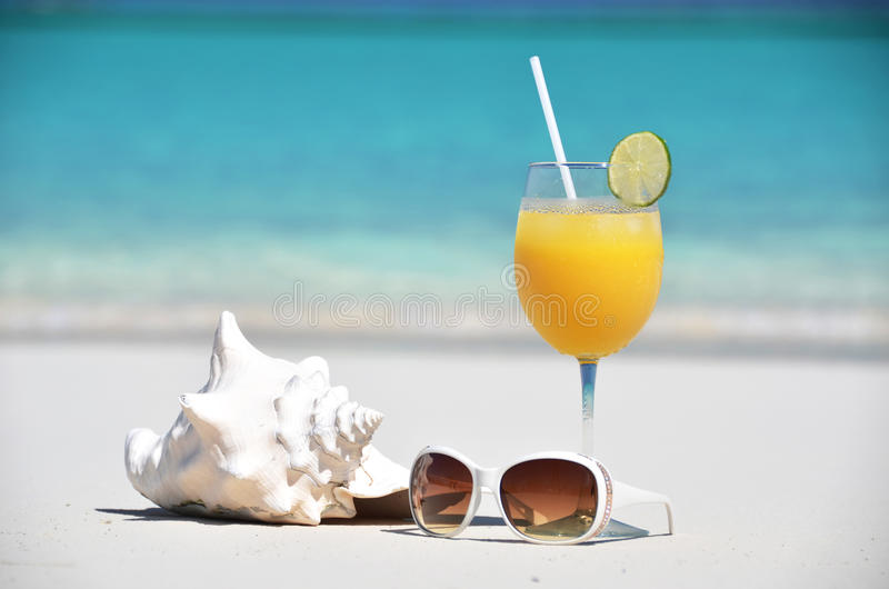 Orange juice, sunglasses and conch on the beach royalty free stock photo