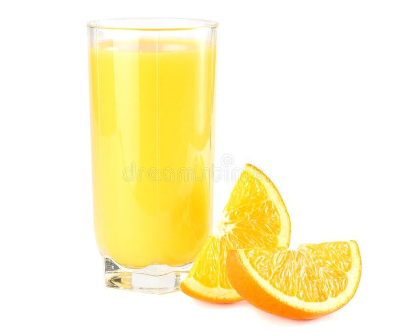 orange juice with orange on white background. juice in glass stock photo