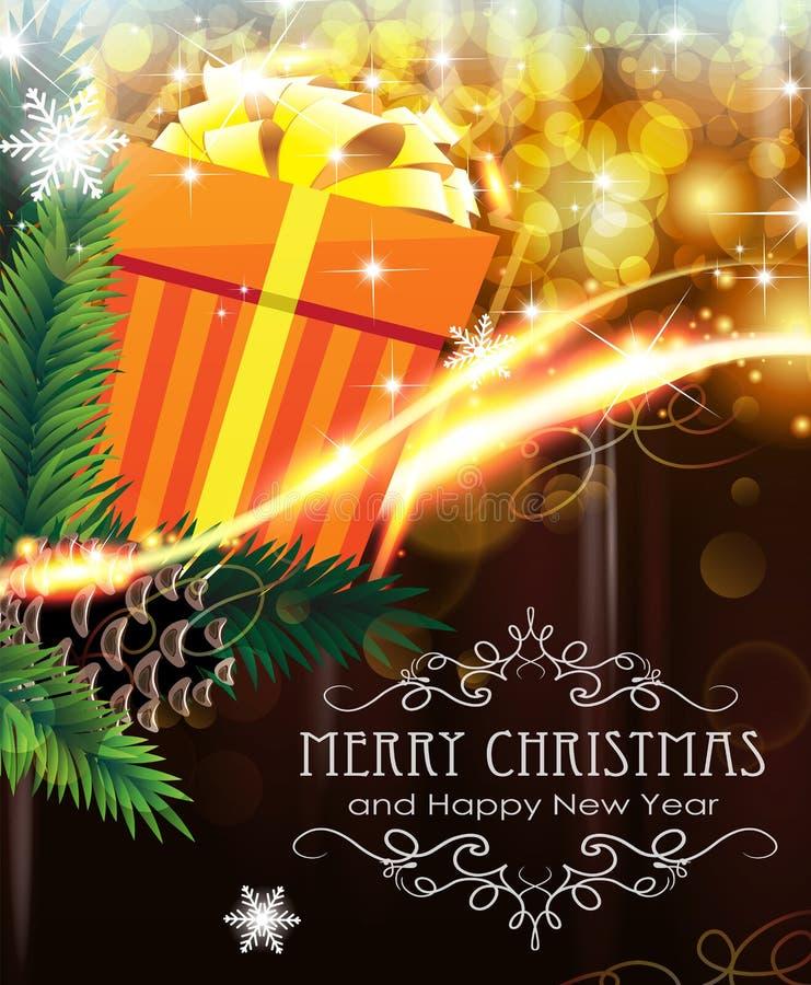 Orange julgåva på mousserande bakgrund stock illustrationer