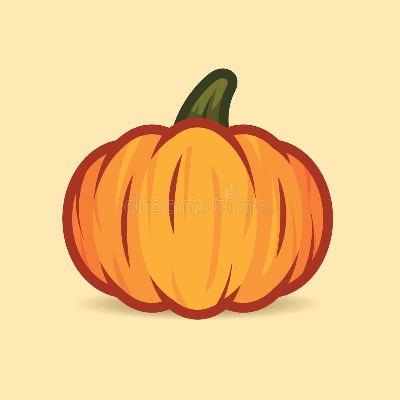 Orange Kürbis lokalisiert auf beige Hintergrund Netter Halloween-Kürbis für glückliche Halloween-Feiertagsdekoration lizenzfreie abbildung