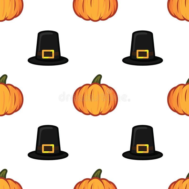 Orange Kürbis und schwarzer Hexenhut Halloween kopieren Hintergrund Kürbis- und Hexenhutmuster für die Feier glücklich lizenzfreie abbildung