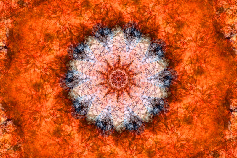 Orange Kaleidoscope. A orange toned kaleidoscope pattern with intricate detail stock photography