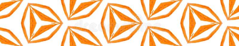 Orange kaleidoscope Seamless Border Scroll. Geomet. Ric Watercolor Frame. Breathtaking Seamless Pattern. Medallion Repeated Tile. Cool Chevron Ribbon Ornament vector illustration