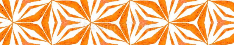 Orange kaleidoscope Seamless Border Scroll. Geomet. Ric Watercolor Frame. Bold Seamless Pattern. Medallion Repeated Tile. Wonderful Chevron Ribbon Ornament royalty free illustration
