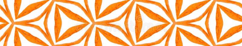 Orange kaleidoscope Seamless Border Scroll. Geomet. Ric Watercolor Frame. Bold Seamless Pattern. Medallion Repeated Tile. Worthy Chevron Ribbon Ornament royalty free illustration