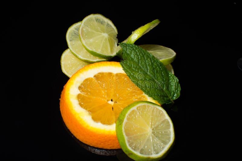 Orange - Kalk - Minze lizenzfreies stockfoto