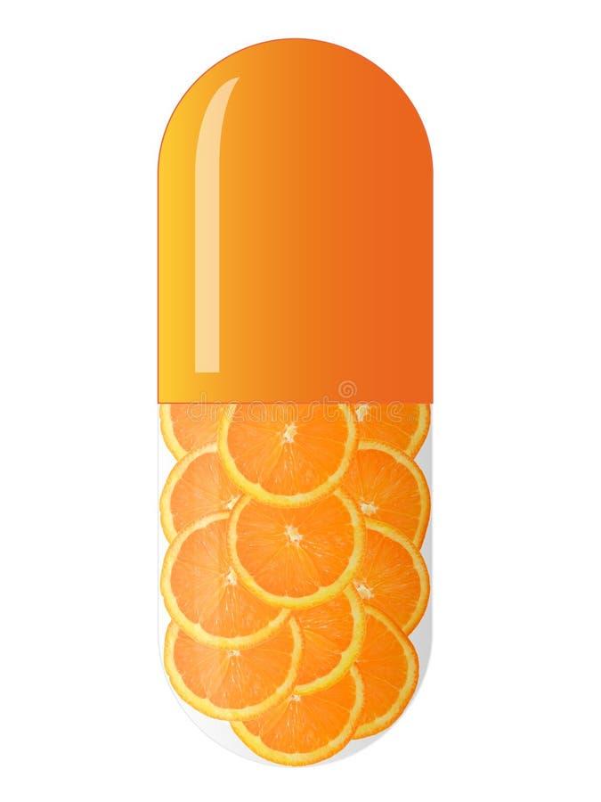 Orange Kapsel mit Orangen stock abbildung